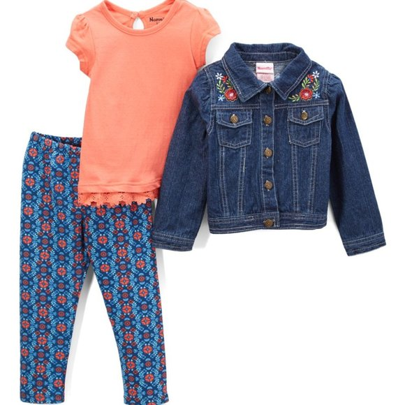 Nannette Girl Coral & Denim Geometric Jacket Set